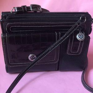 Vintage black Brighton crossbody leather bag